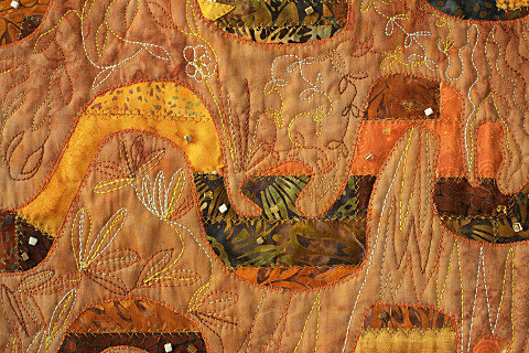 Beyond the Wall 4. Art Quilt by Dorothy Russell