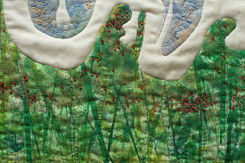 Beyond the Wall 3. Art Quilt by Dorothy Russell