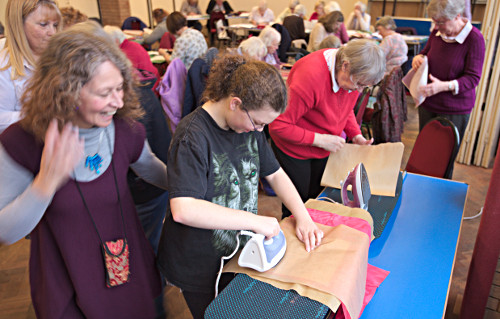 Folderd Paper Applique workshop at Thornton Hough by Dorothy Russell