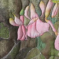 Detail of Silk painting from Silkworm's garden by Dorothy Russell