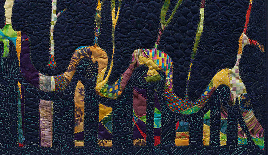Beyond the Wall 1. Art Quilt by Dorothy Russell
