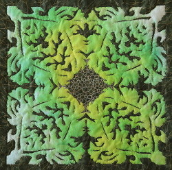 Folded paper applique: Dorothy Russell Quilt workshop at Oriel Ynys Mon (Anglesey gallery) 2015.