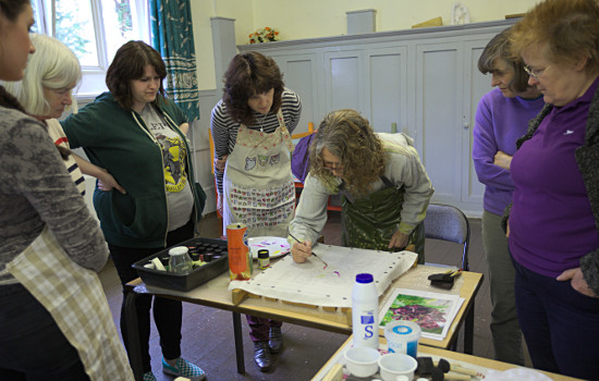 Silk painting workshop at Llandygai by Dorothy Russell