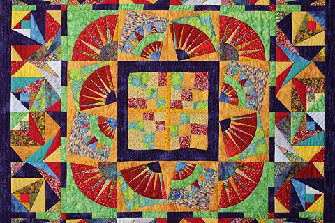 Dorothy Russell Quilt. Bright Medallion. Centre peice