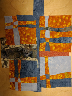 A section of a Free-cut curve piece laid out prior to quilting