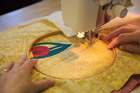 Example of Free Motion Quilting at a Dorothy Russell Workshop